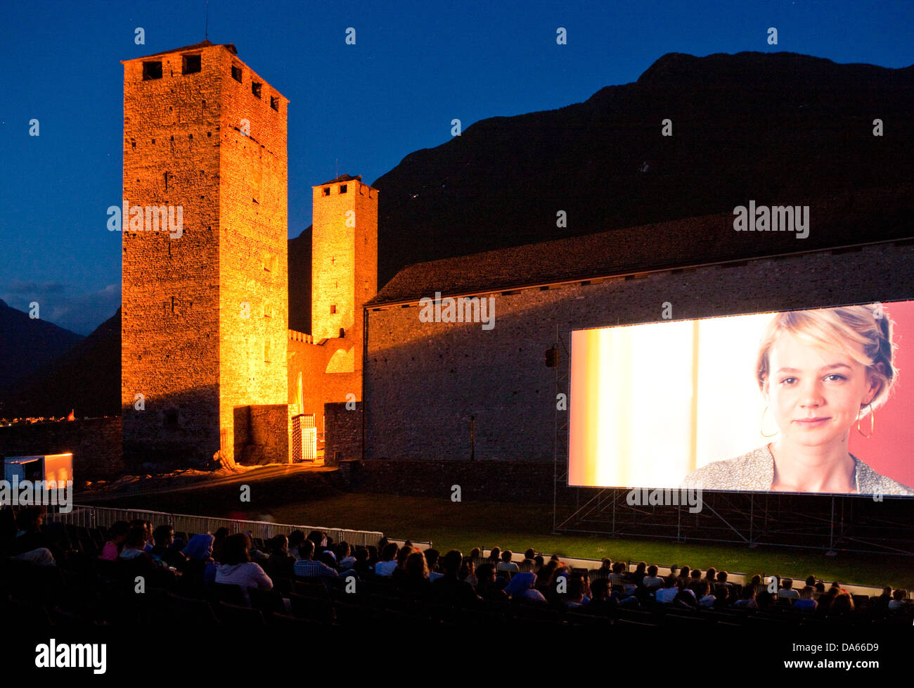 Open Air, cinema, Castello Grande, Bellinzona, building, construction, Castle, canton, TI, Ticino, South Switzerland, - Stock Image