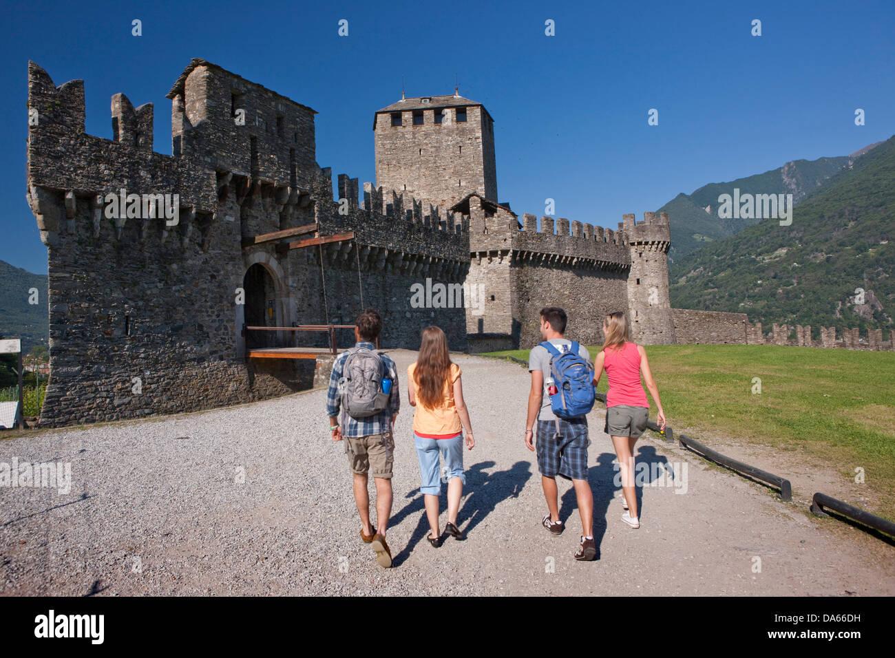 Tourists, Monte Bello, visit, building, construction, Castle, tourism, holidays, canton, TI, Ticino, South Switzerland, Stock Photo