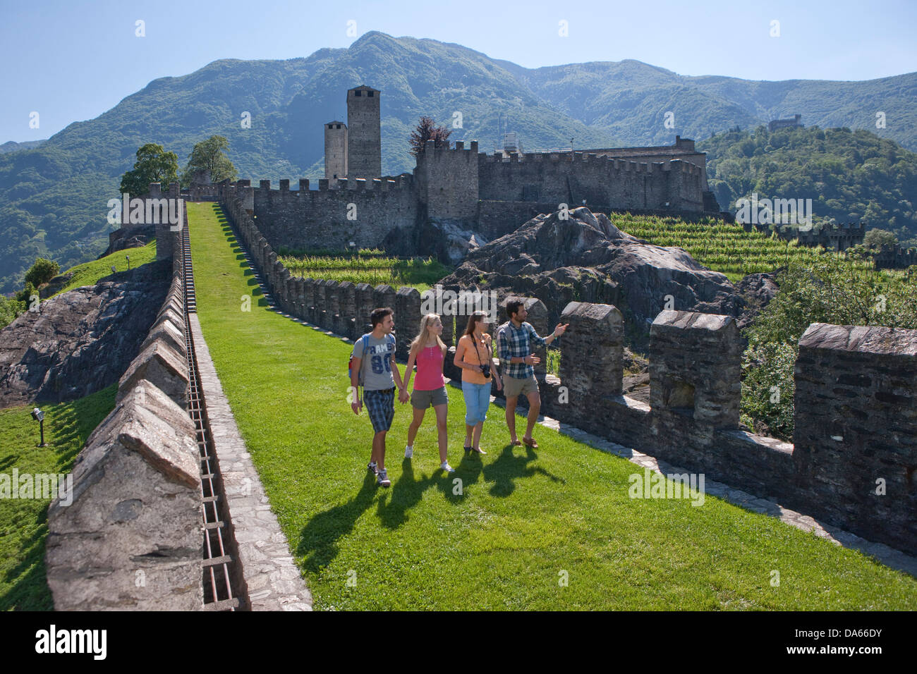 Tourists, Monte Bello, visit, building, construction, Castle, tourism, holidays, canton, TI, Ticino, South Switzerland, - Stock Image
