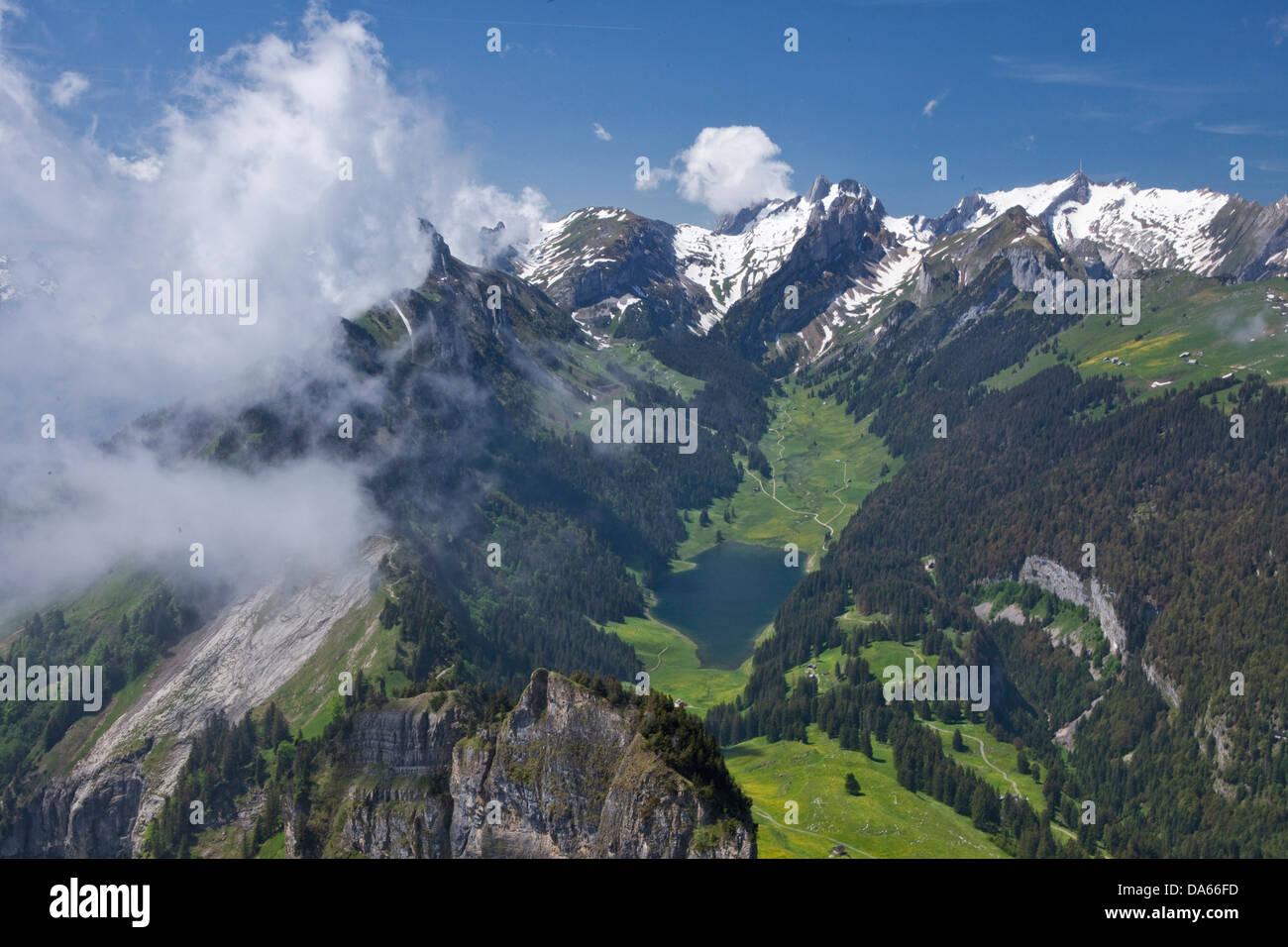 To high castes, box, Alpstein, mountain, mountains, canton, Appenzell, Innerroden, Appenzell area, Alpstein, Säntis, - Stock Image