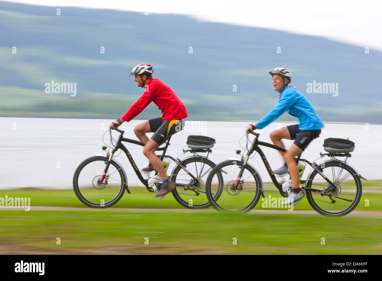 Bicycle tour, electric wheel, Lac de Joux, bicycle, bicycles, bike, riding a bicycle, tourism, holidays, canton, - Stock Image
