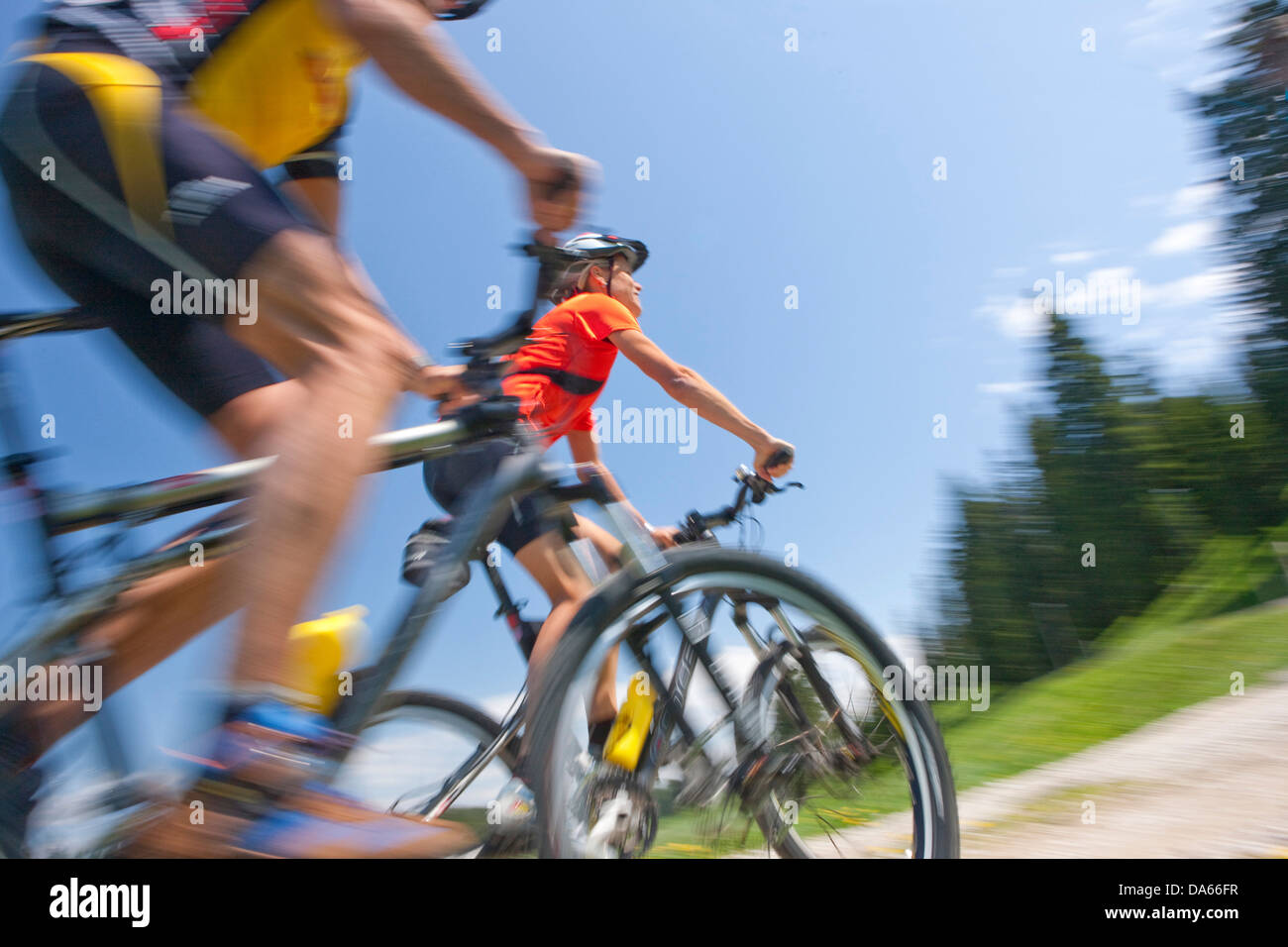 Bicycle tour, mountain bikes, Parc vaudoise jurassienne, Val de Joux, bicycle, bicycles, bike, riding a bicycle, - Stock Image