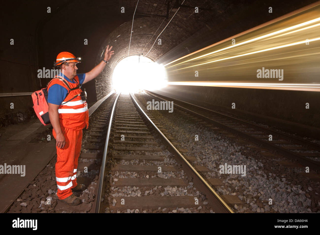 linesman, tunnel, road, railway, train, railroad, Lötschberg, BLS, Switzerland, Europe, security, safety, Bernese - Stock Image