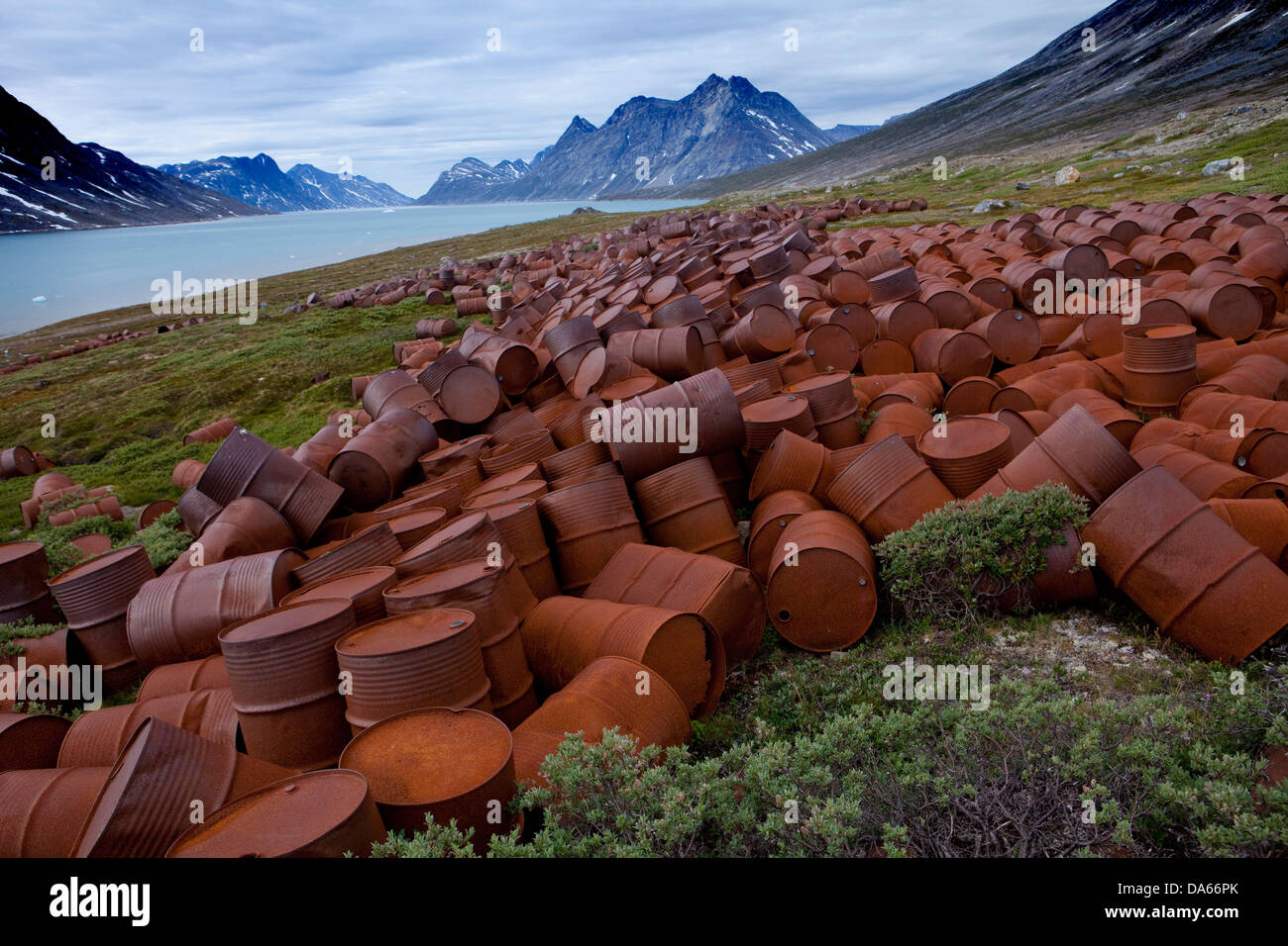 US base, cousin, Blue East, base, military base, 2 world war, Greenland, East Greenland, rust, grate, environmental, - Stock Image