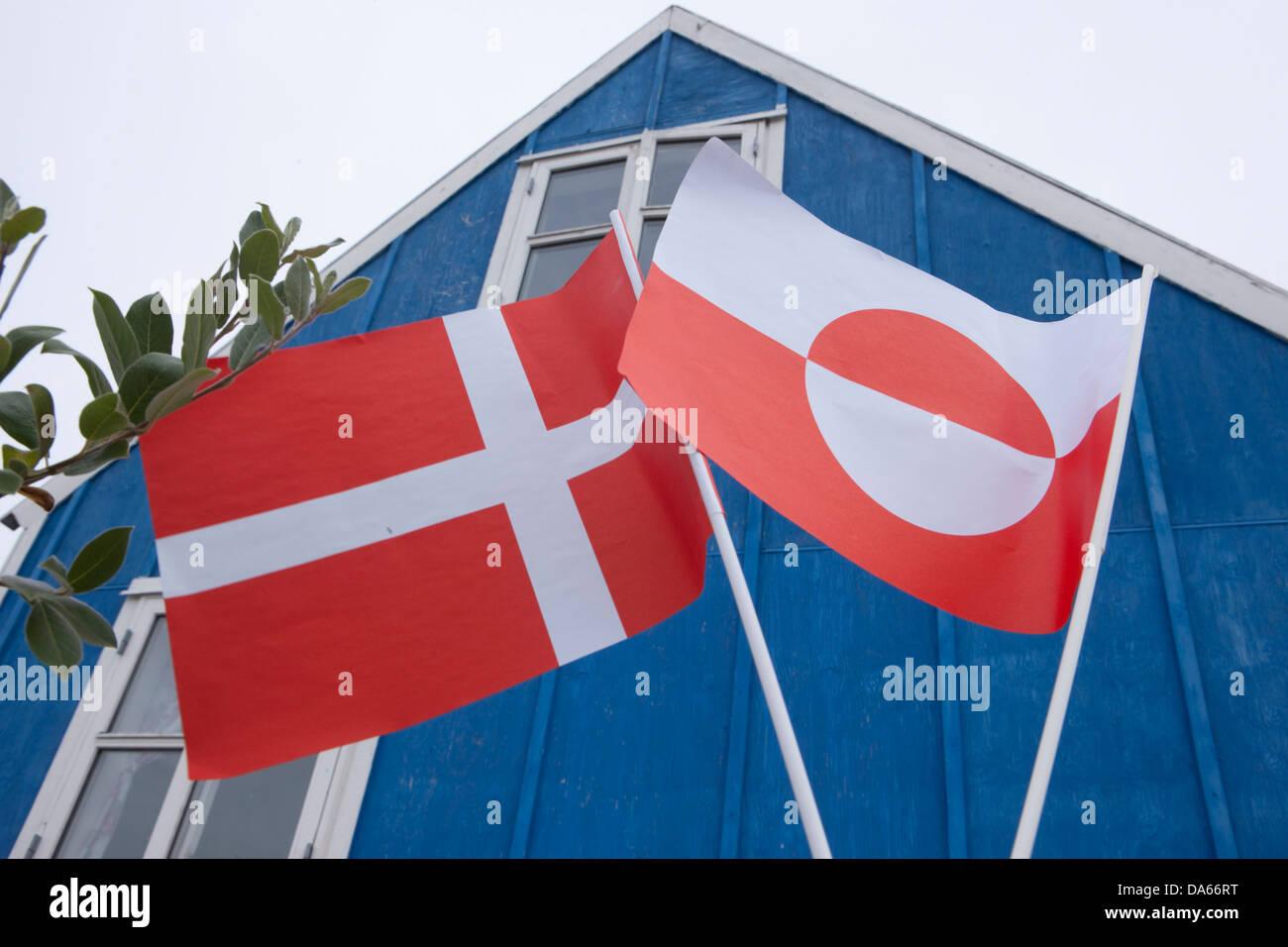 Danish, greenlandic, flags, banners, Greenland, East Greenland, flag, flags, Sermiligaaq, - Stock Image