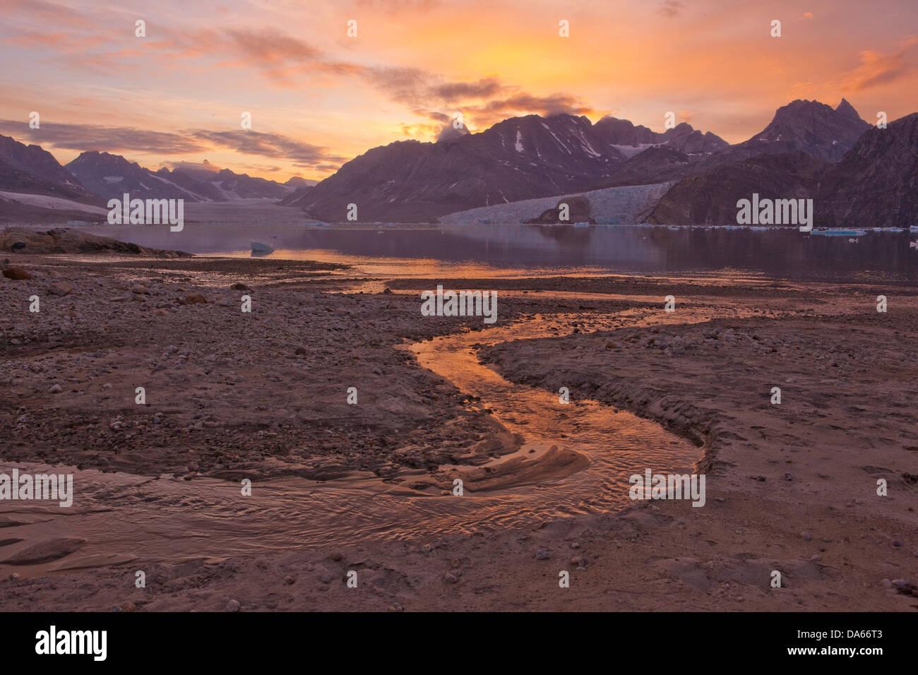 Karale, Greenland, East Greenland, glacier, ice, moraine, nature, Sermiligaaq, - Stock Image
