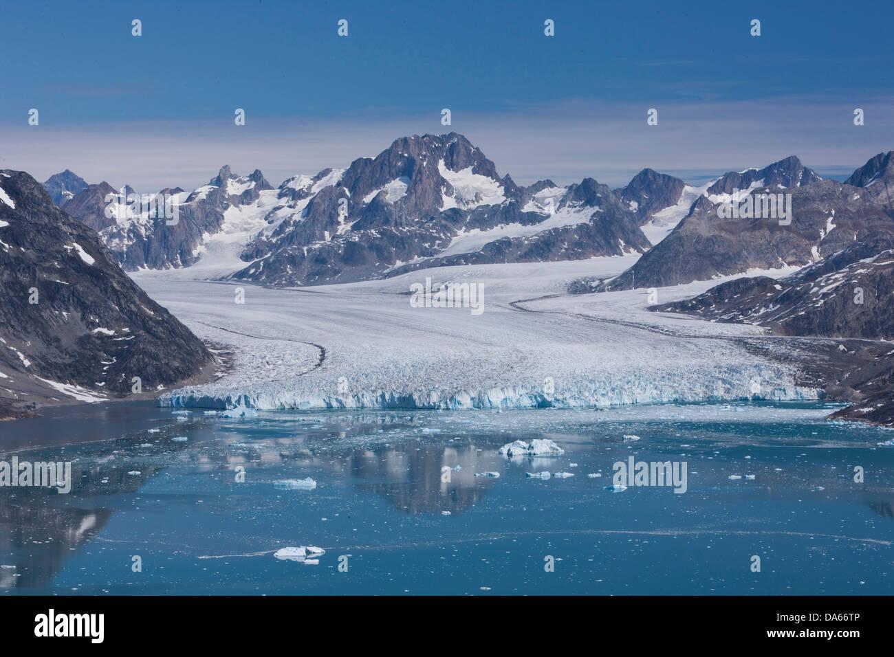 Sermiligaaq, view, Knut Rasmussen, Rasmussen, Greenland, East Greenland, glacier, ice, moraine, Stock Photo