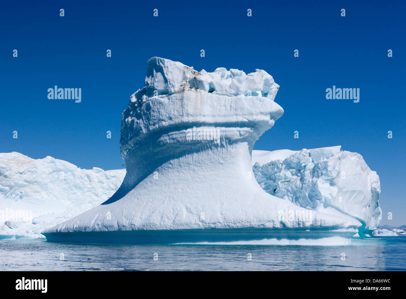 Icebergs, Greenland, East Greenland, ice, iceberg, Tassiilaq, nature, formation, group, white, blue, cold, - Stock Image