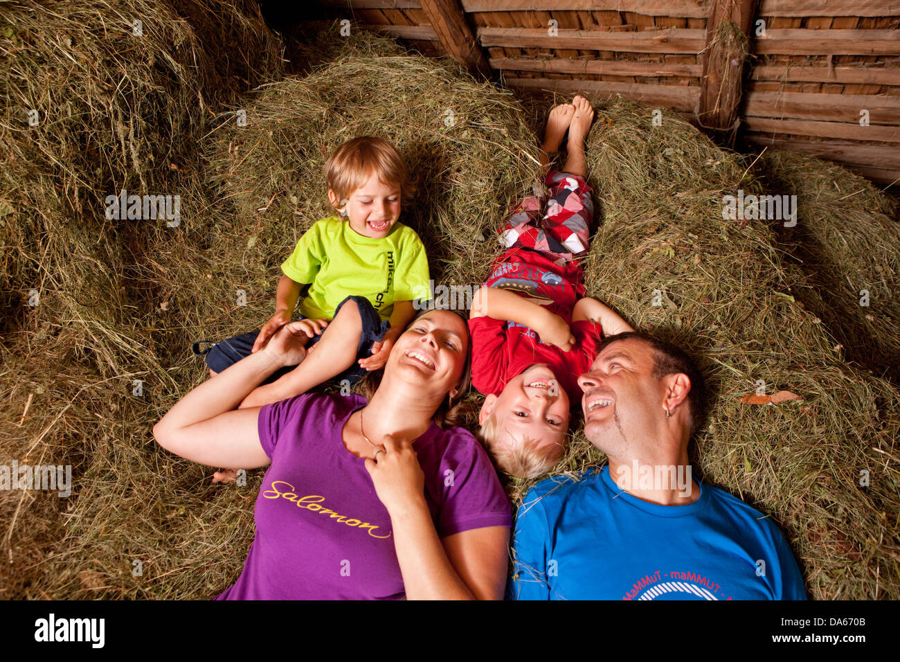 Family, alpine hut, sleeping, hay, mountain, mountains, canton, Bern, Bernese Oberland, family, agriculture, Switzerland, - Stock Image