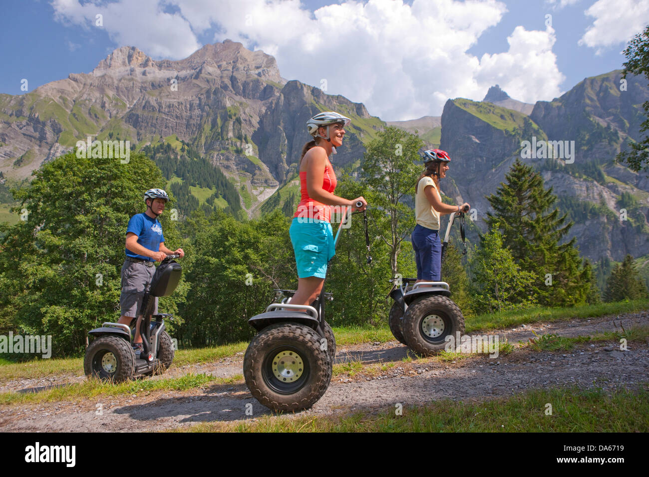 Segway, two-wheeled, vehicle, personal transporter, drive, Adelboden, footpath, walking, hiking, trekking, canton, - Stock Image