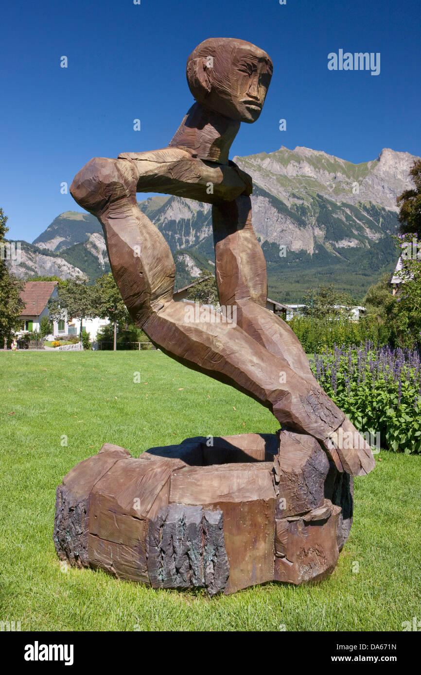 RagARTs, culture, canton, SG, St. Gallen, Switzerland, Europe, art, skill, Bad Ragaz, wood, head - Stock Image