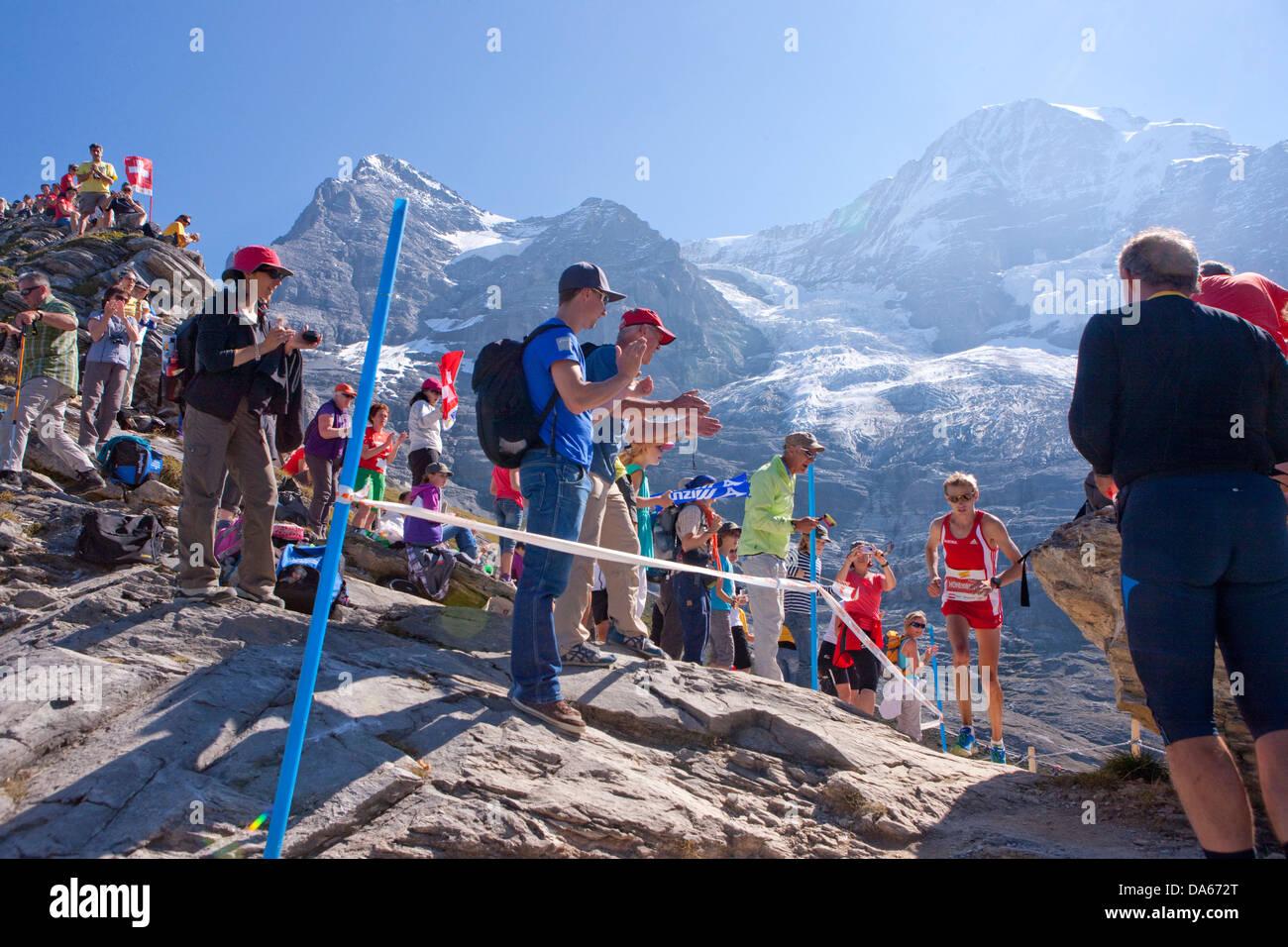 Jungfrau marathon, marathon, mountain run, run, sport, mountain scenery, landscape, mountain, mountains, mountain - Stock Image