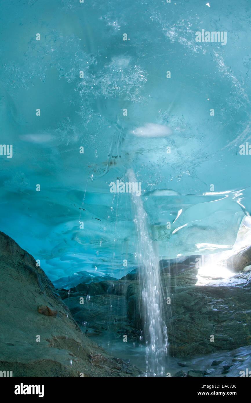 Glacier cave, ice, glacier, ice, moraine, canton, Valais, Switzerland, Europe, water, melt, climate, warming, - Stock Image
