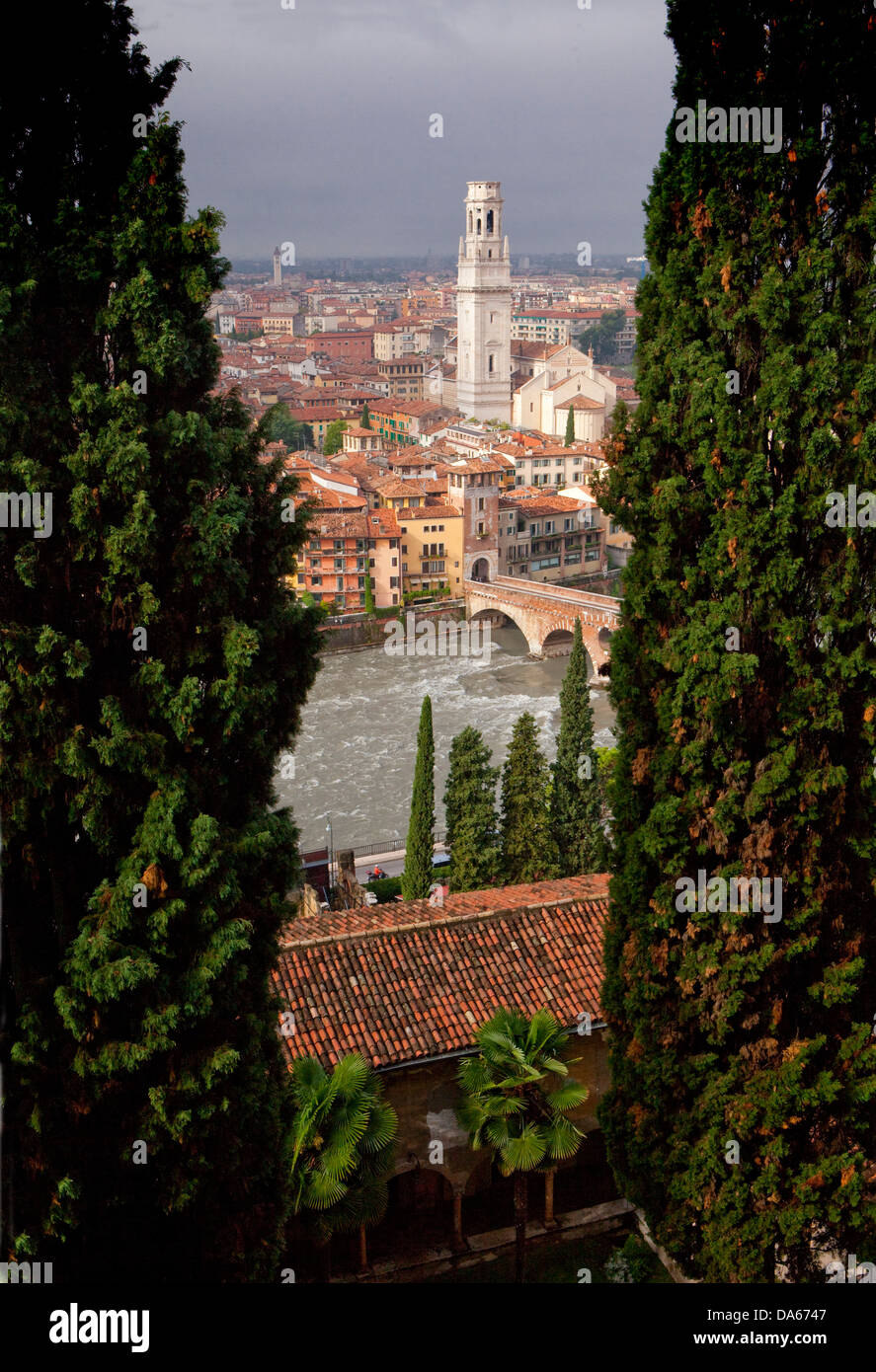 Ponte Pietra, cathedral, dome, Verona, Adige, town, city, Italy, Europe, bridge, river, flow, brook, body of water, - Stock Image
