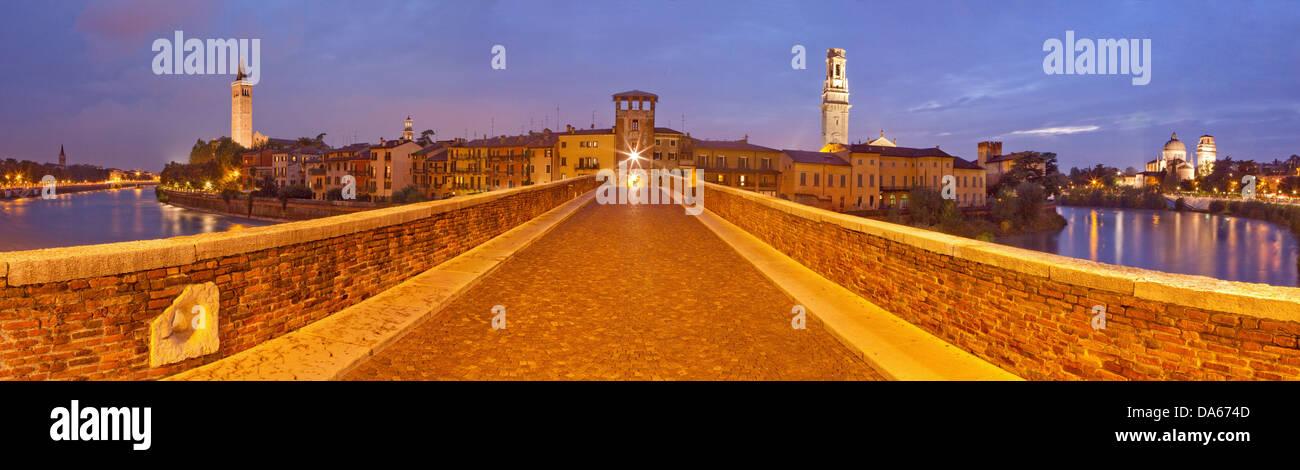 Ponte Pietra, cathedral, dome, Verona, Adige, panorama, town, city, Italy, Europe, bridge, river, flow, brook, body Stock Photo