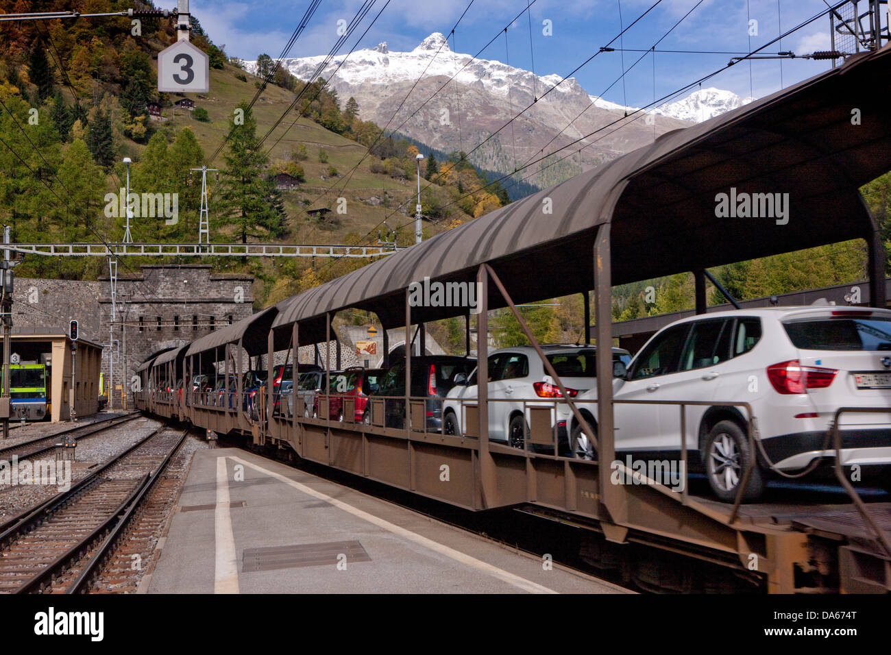 Tunnel, entrance, Goppenstein, VERSUS, road, railway, train, railroad, autumn, Lötschberg, canton, Valais, - Stock Image