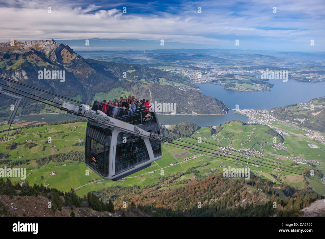 Convertible road, aerial cable car, ropeway, view, tourism, Stanserhorn, autumn, mountain, mountains, mountain road, - Stock Image