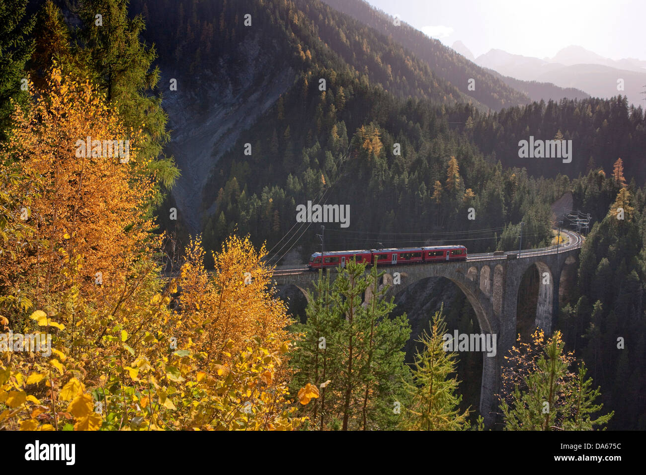 Rhaetian Railway, meadow viaduct, meadows, road, railway, train, railroad, bridge, autumn, wood, forest, canton, - Stock Image
