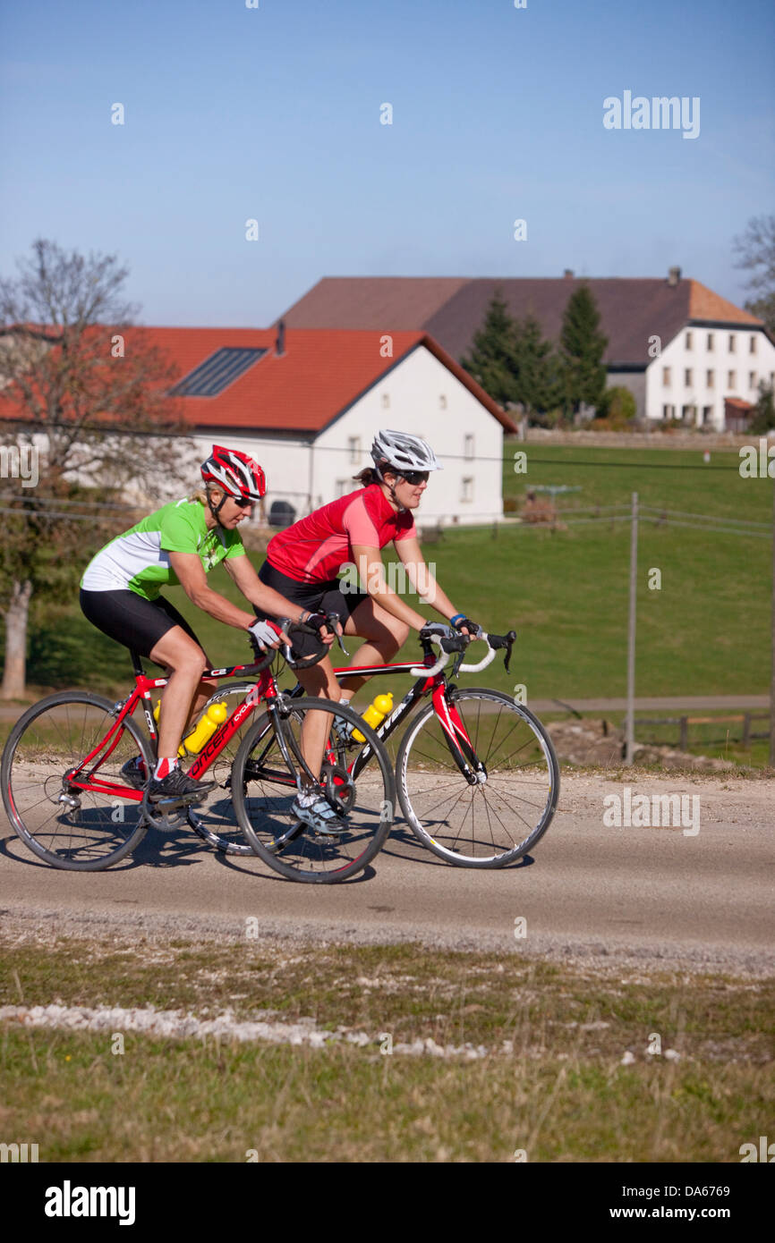 Cyclist, biker, to free mountains, Les Rouges-Terres, canton, JU, Jura, autumn, bicycle, bicycles, bike, riding - Stock Image
