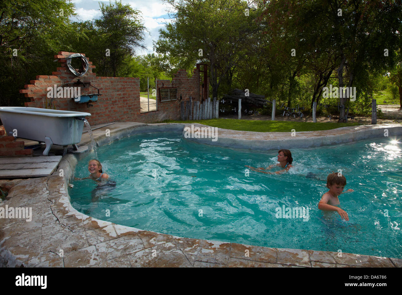 Swimming pool at Roy's Rest Camp, near Grootfontein, Namibia, Africa - Stock Image