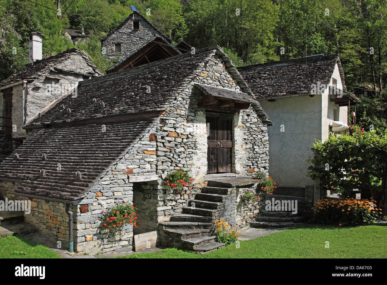 Switzerland, Europe, Canton, Ticino, Bavona Valley, Ritorto, Travel, Geography, Village, Stone, House, Swiss, Tranquil, - Stock Image