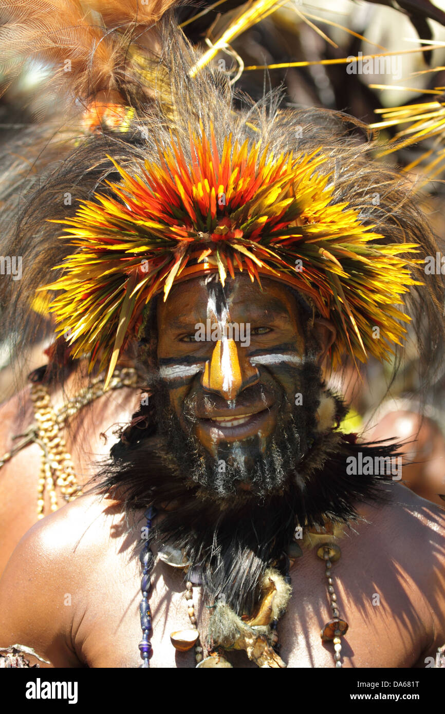 culture, ethnic, person, indigenous, people, native, tribes, tribesman, highlander, headdress, face paint, bird - Stock Image