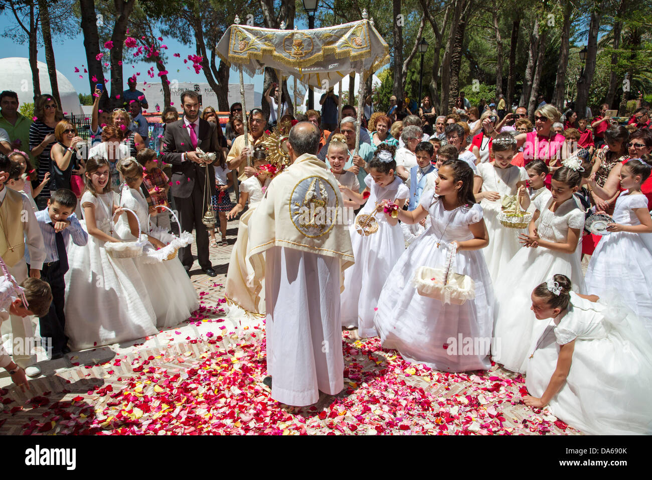 Celebration of Corpus Christi Mijas Málaga Andalusia Spain - Stock Image