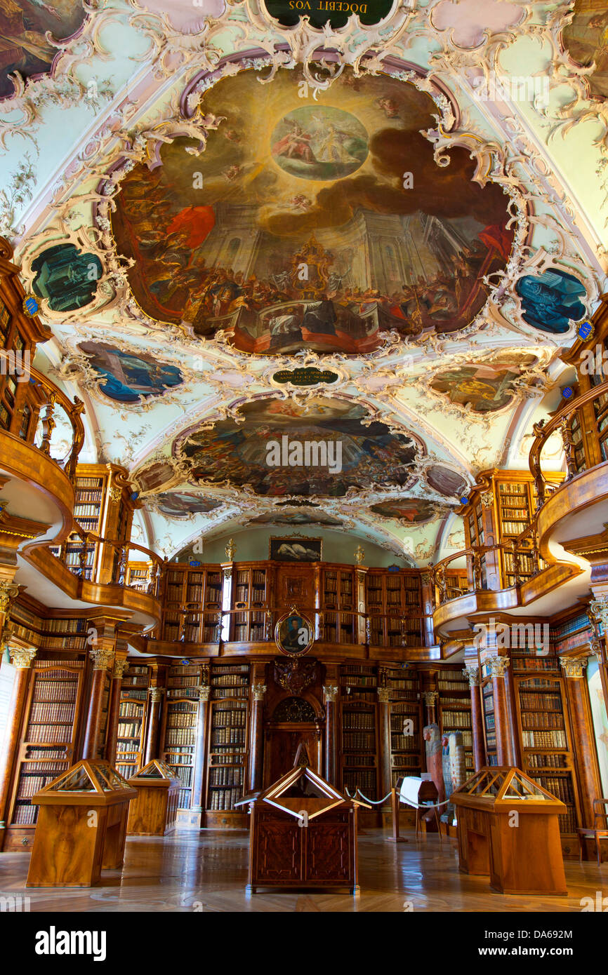 St. Gallen, St. Gall, monastery, library, Switzerland, Europe, canton, town, city, cloister district, monastery, - Stock Image