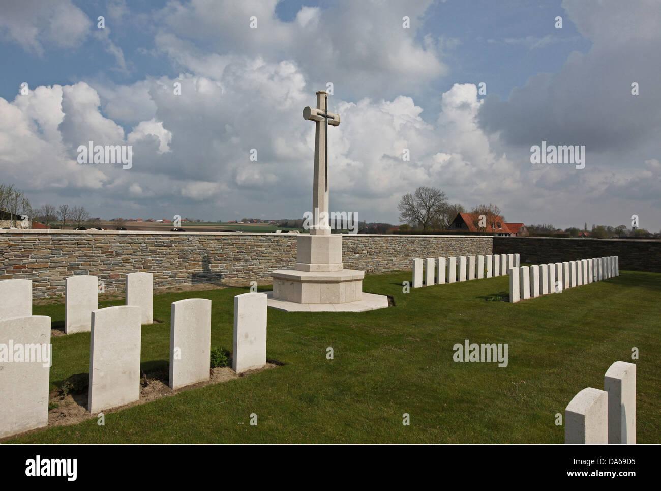 Abeele Aerodrome First World War Cemetery at Abeele in Belgium - Stock Image