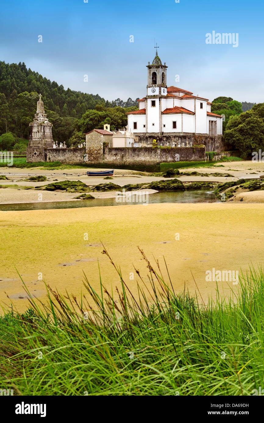 Camino Xacobeo de Santiago Cemetery Church cove Niembro Asturias Spain - Stock Image