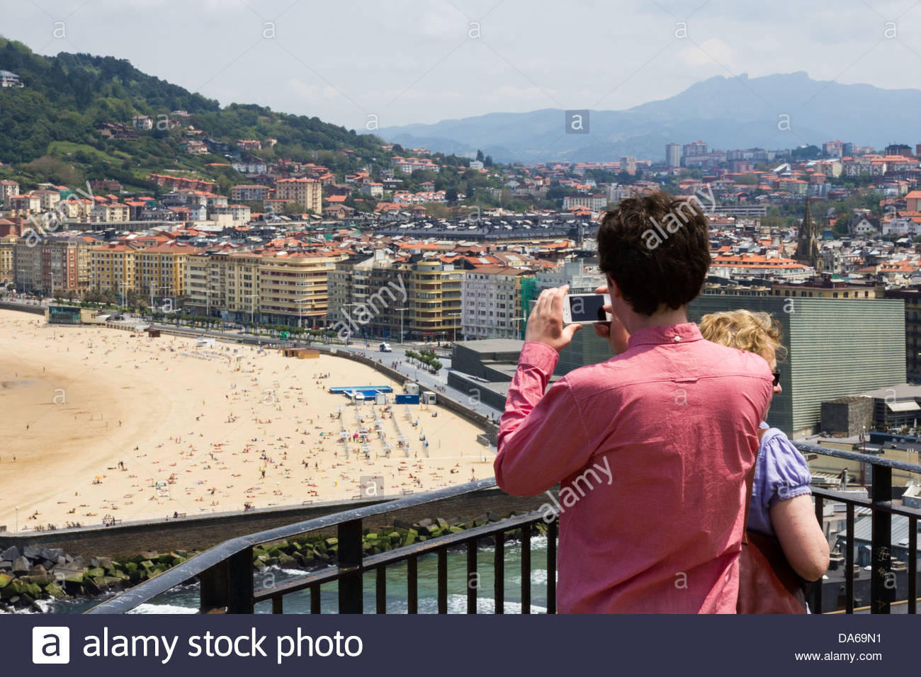 Looking down at the beach in Donostia - San Sebastian in the Basque Country - Stock Image