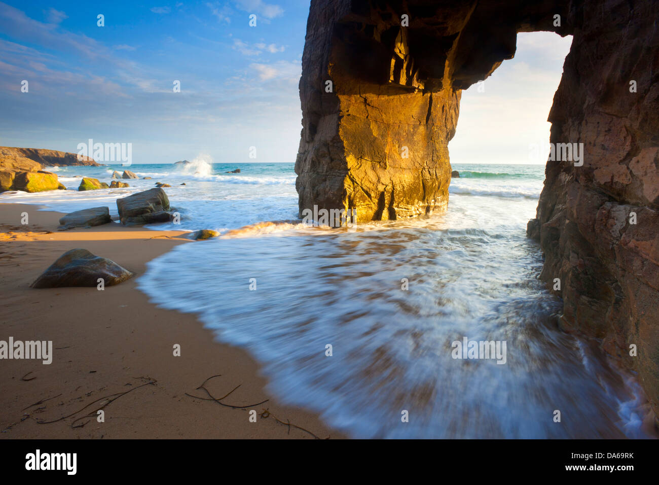 Côte Sauvage, France, Europe, Brittany, department Morbihan, coast, rock, cliff, rock formation, arc, sea, - Stock Image