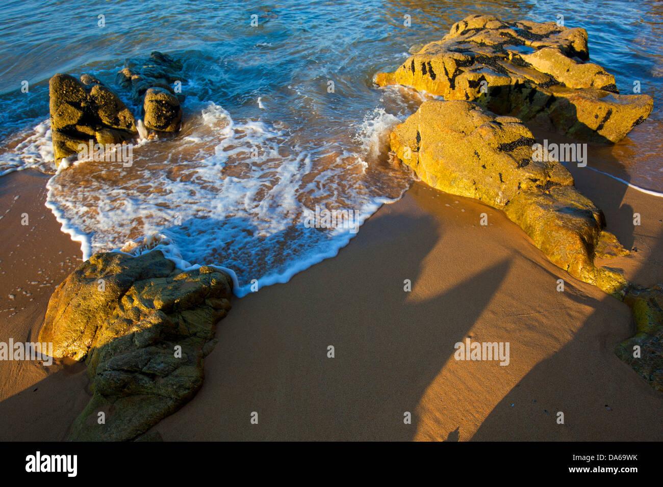 Côte Sauvage, France, Europe, Brittany, department Morbihan, coast, rock, cliff, sea, sand beach - Stock Image