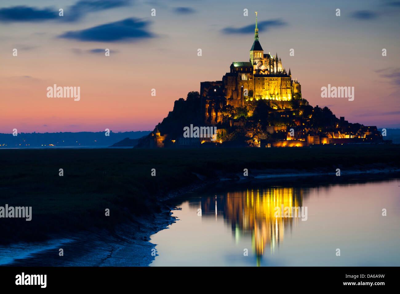 St. Michel's mount, Mont Saint-Michel, mont, St. Michel, France, Europe, Normandy, department some, UNESCO, - Stock Image