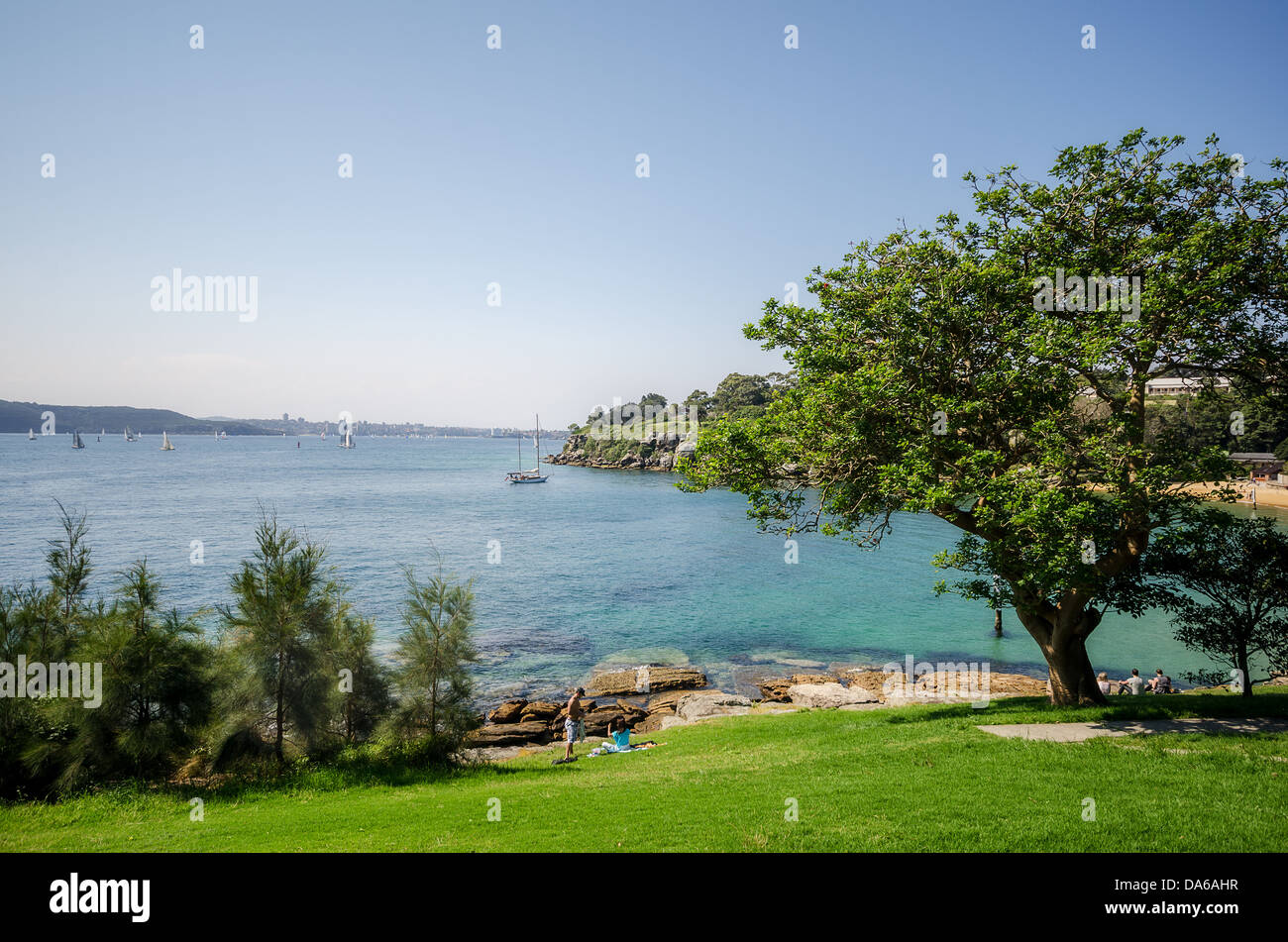Parsley Bay in Sydney with its cove, and lawned park. - Stock Image
