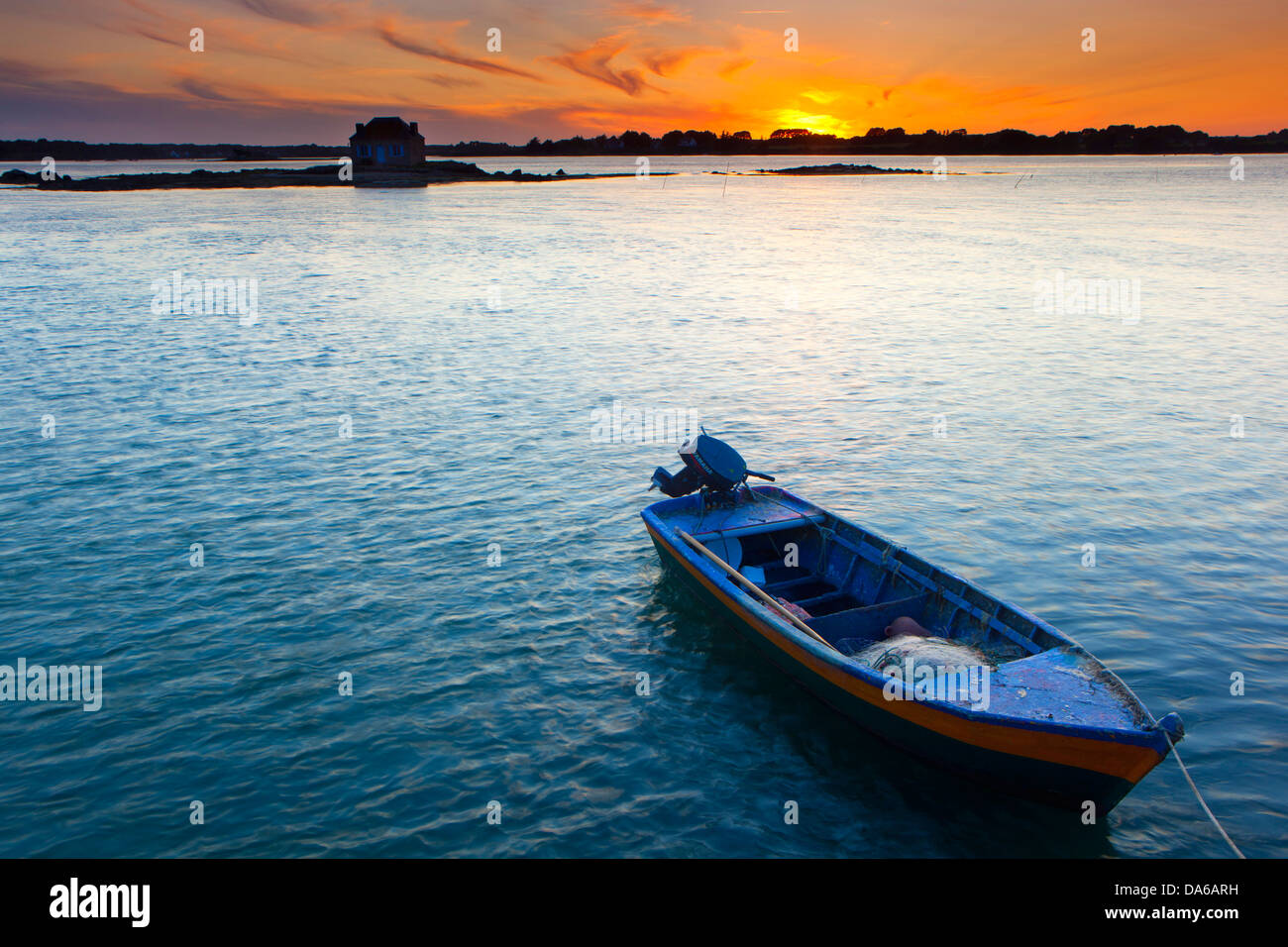 Saint Cado, France, Europe, Brittany, department Morbihan, sea, boat, sundown - Stock Image