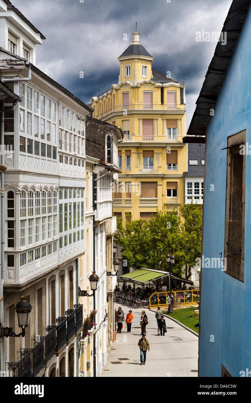 Historical monumental center Lugo Galicia Spain - Stock Image