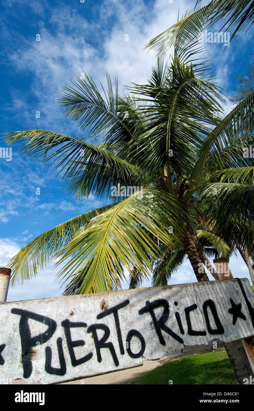 Puerto Rico, Caribbean, Greater Antilles, Antilles, Luquillo, palm beach, palm beaches, sand beach, sand beaches, Stock Photo