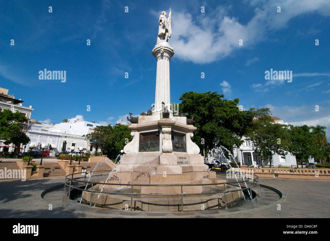 Puerto Rico, Caribbean, Greater Antilles, Antilles, Columbus, Columbus, statue, statues, sculpture, figure, figures, - Stock Image