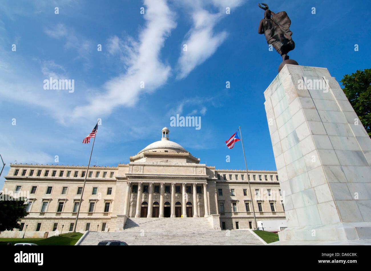 Puerto Rico, Caribbean, Greater Antilles, Antilles, Capitol, government, building, construction, architecture, parliament, - Stock Image