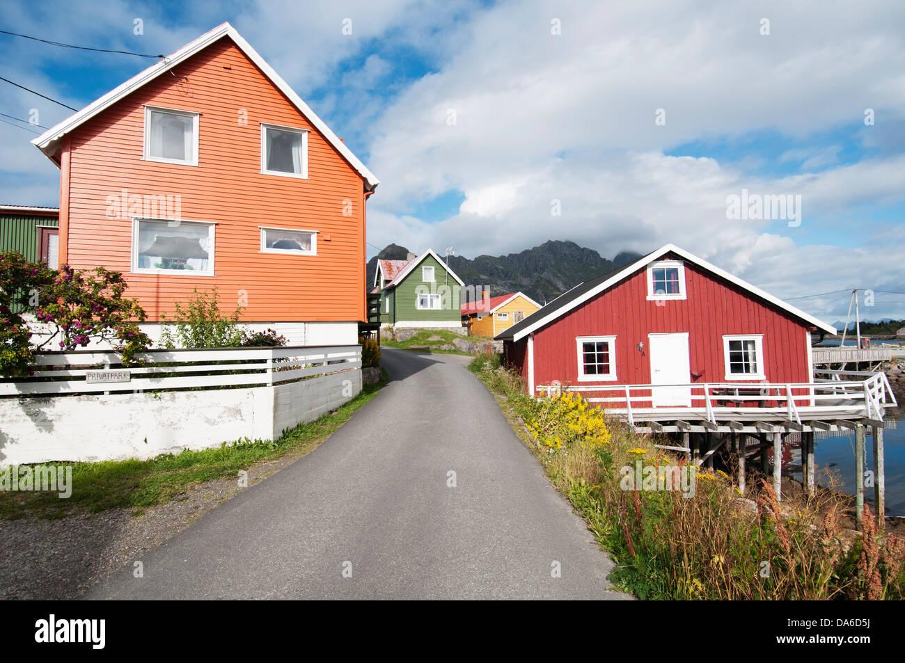 Henningsvaer, Lofoten, Norge, Scandinavian village - Stock Image