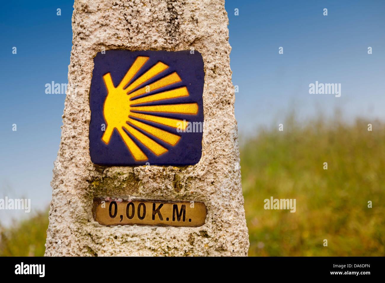 End of Camino Xacobeo de Santiago Lighthouse Fisterra Costa de la Muerte La Coruña Galicia Spain - Stock Image