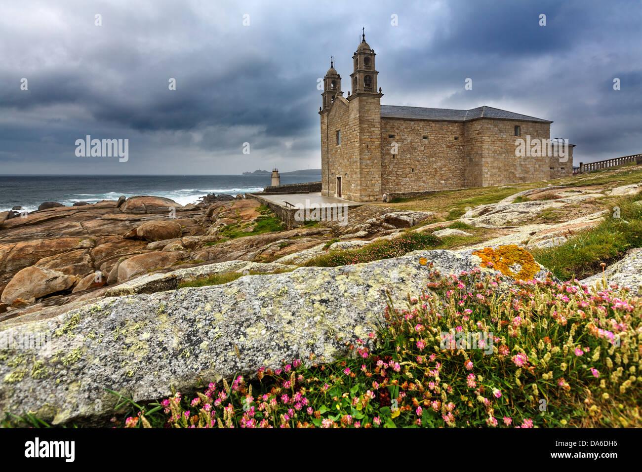 Camino Xacobeo de Santiago Santuario Virgen de A Barca Muxia Costa de la Muerte La Coruña Galicia Spain - Stock Image