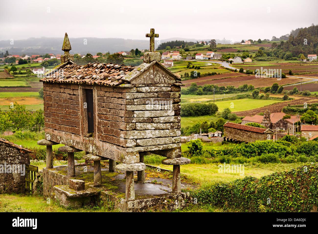 Camino Xacobeo de Santiago Horreo San Martin de Ozon La Coruña Galicia Spain - Stock Image
