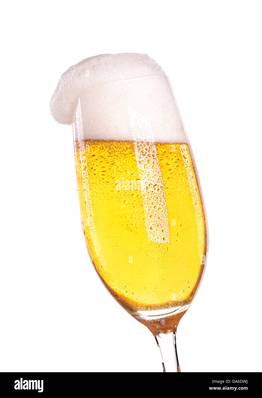 an isolated glass with a cool beer anda nice head of foam stock