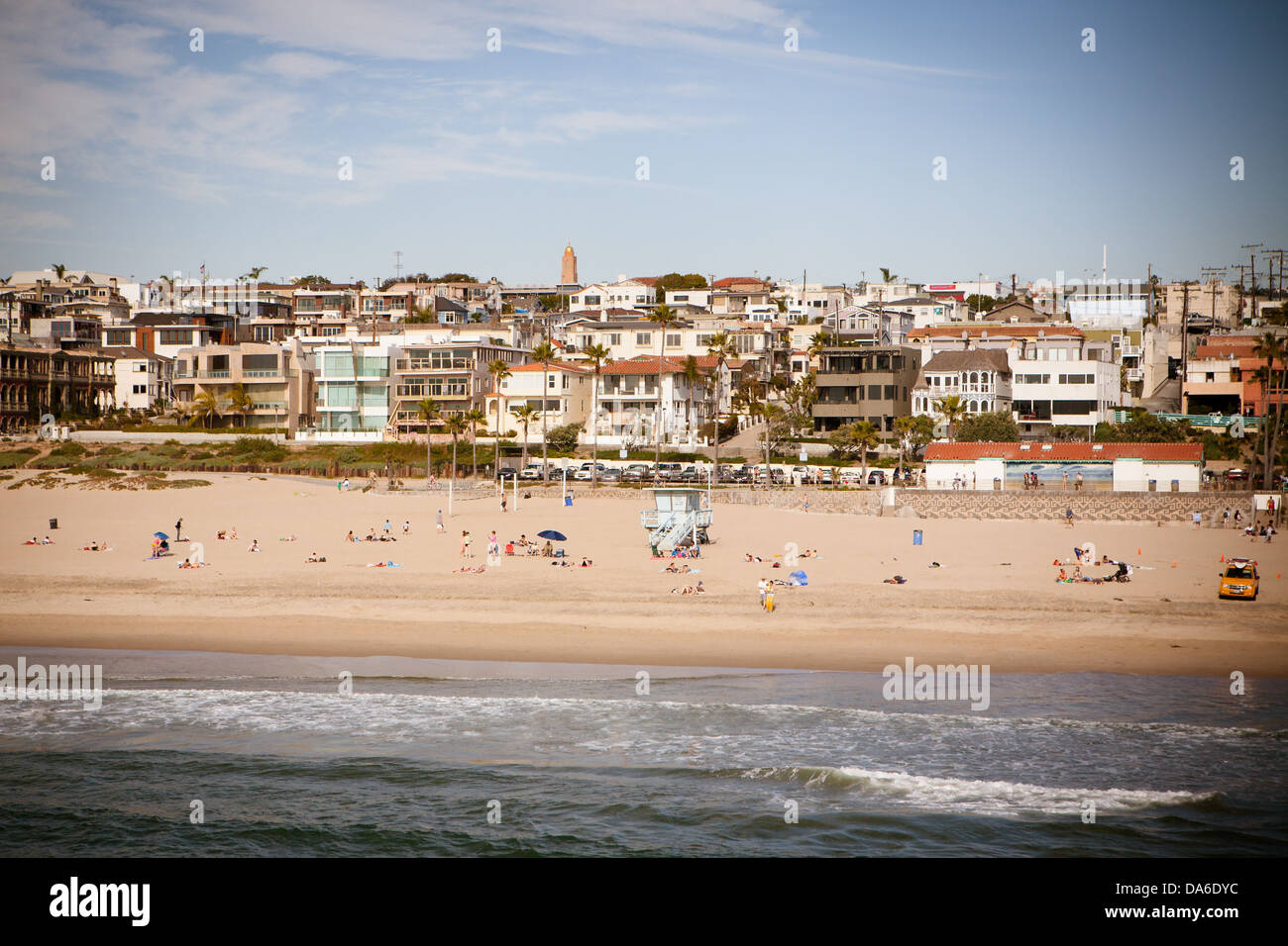 Manhattan Beach on a warm sunny day in Los Angeles, California, USA - Stock Image