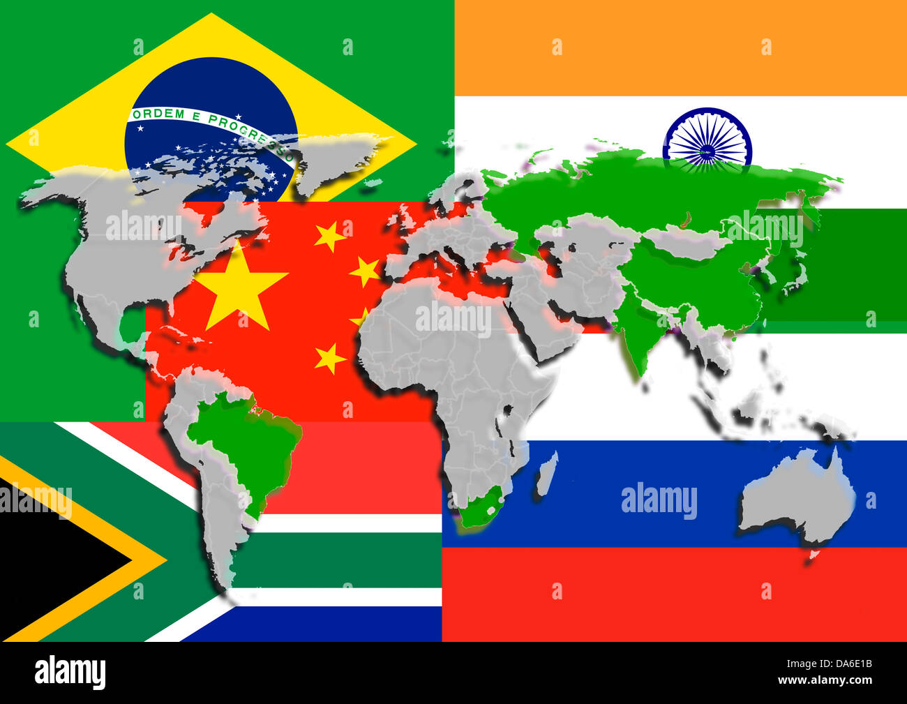 Illustration on the theme BRICS countries with national flags and world map. - Stock Image