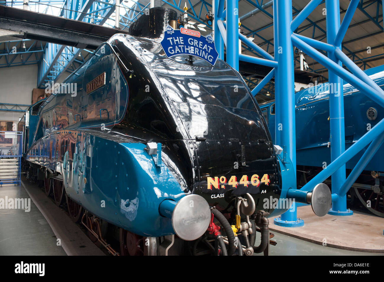Great Gathering of A4 class steam locomotives at National Railway museum York - Stock Image