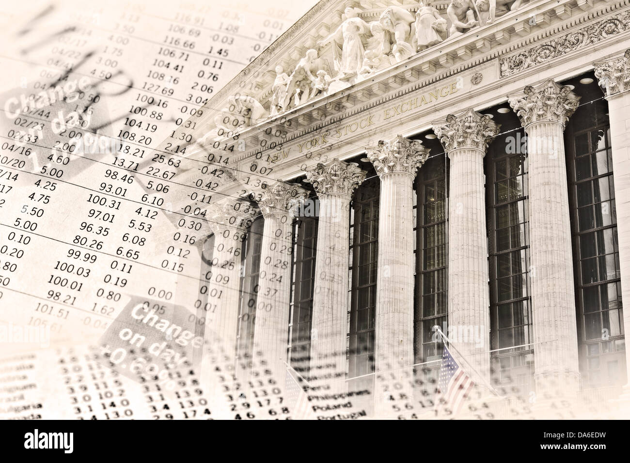 The building of the New York Stock Exchange and the stock price tables. - Stock Image