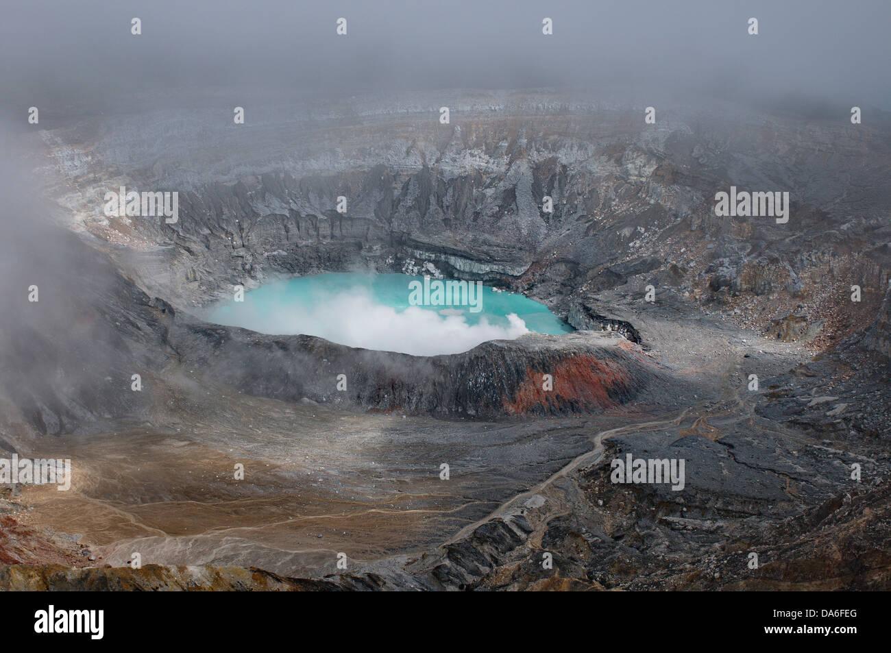 volcano, crater, Volcán Poás, Cordillera central, Costa Rica, Central America, Volcanism, sulphur, steam, - Stock Image